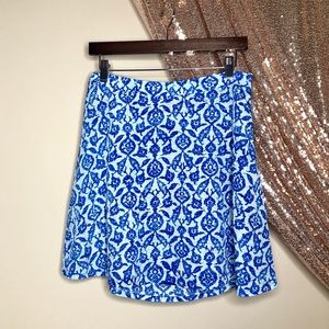 MICHAEL KORS Blue Watercolor Mini Skater Skirt